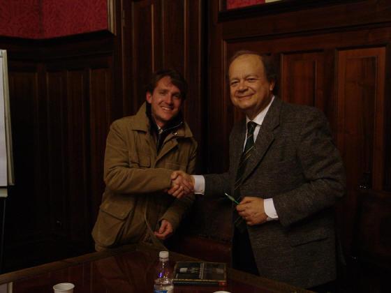 Marco Clerici con Rubboli, studioso di Giacomo Puccini