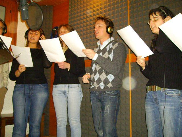 Marco Clerici in studio di registrazione per il musical Cioccofabbrica