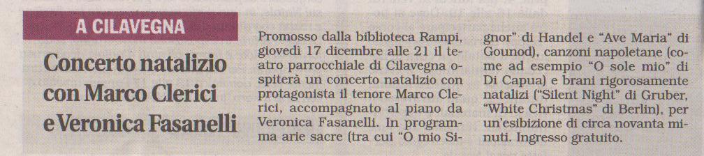 Concerto di Natale a Cilavegna con Marco Clerici e Veronica Fasanelli