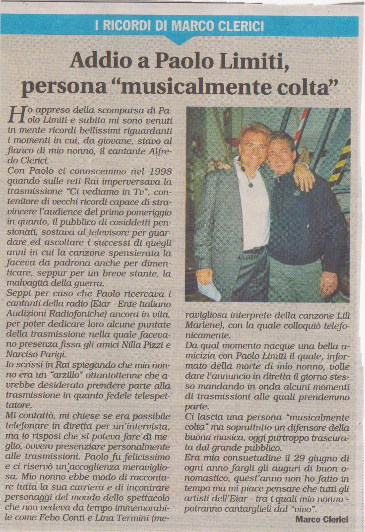 Paolo Limiti - Ricordo di Marco Clerici
