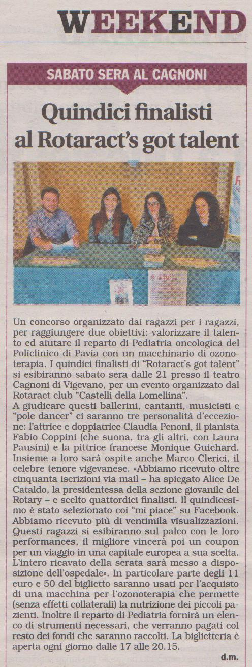 Marco Clerici ospite al Rotaract's Got Talent