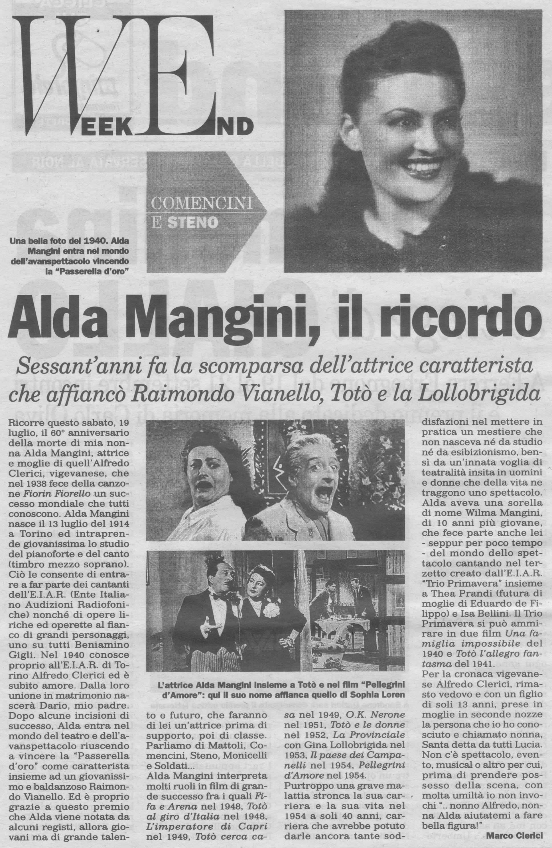 Ricordo dell'attrice Alda Mangini (nonna di Marco Clerici)