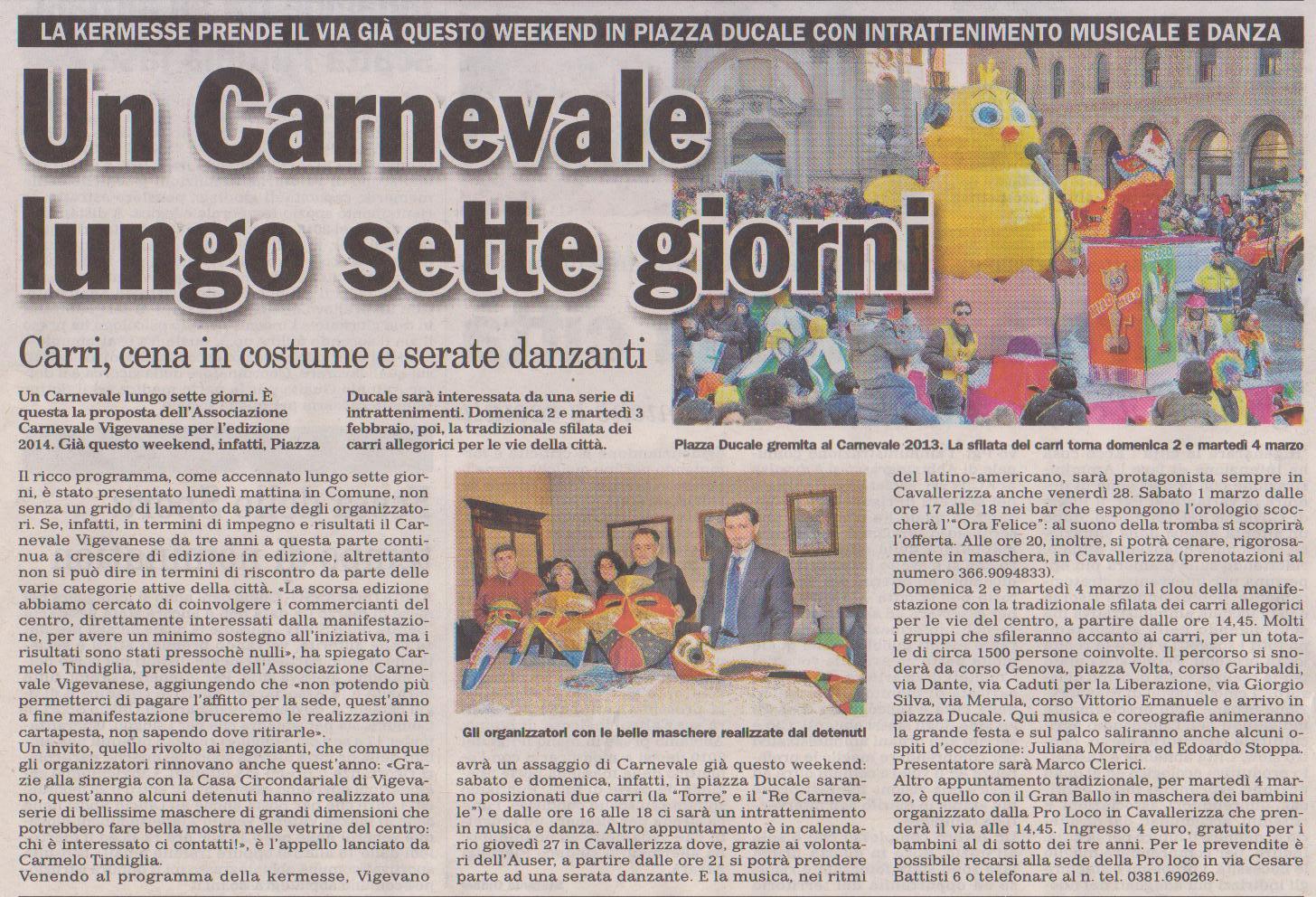 Marco Clerici presenta il Carnevale di Vigevano 2014