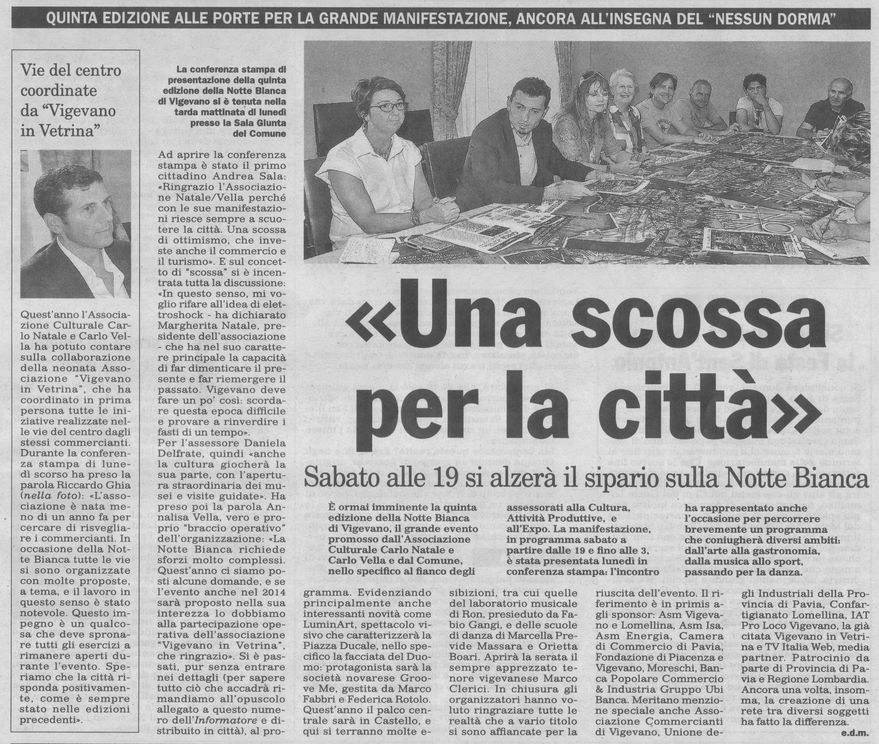Conferenza Stampa Notte Bianca 2014 a Vigevano