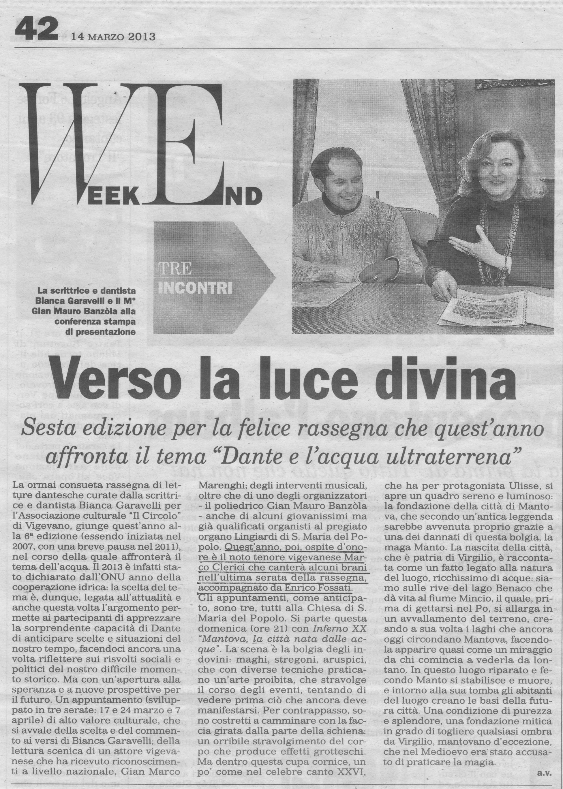 Bianca Garavelli legge Il Paradiso di Dante con accompagnamento musicale di Marco Clerici ed Enrico Fossati