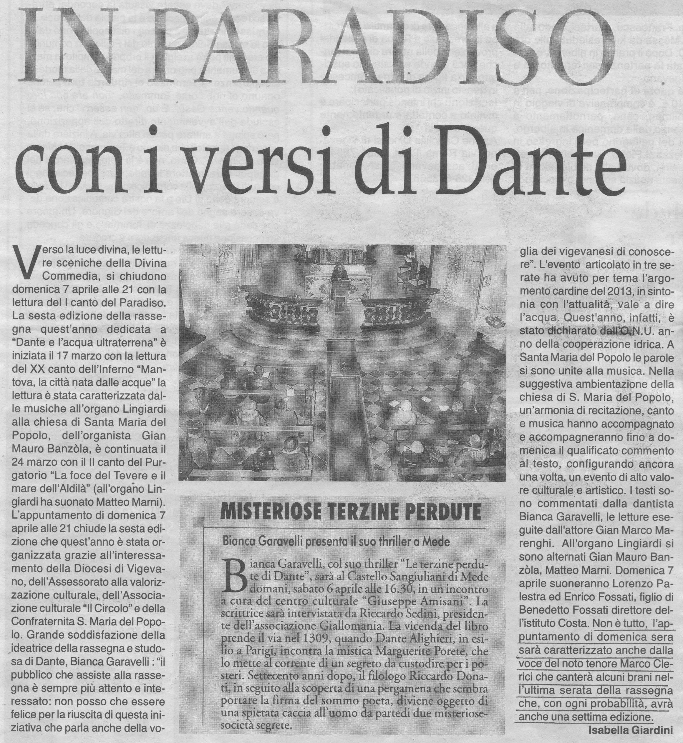 Bianca Garavelli legge Dante con accompagnamento canoro di Marco Clerici