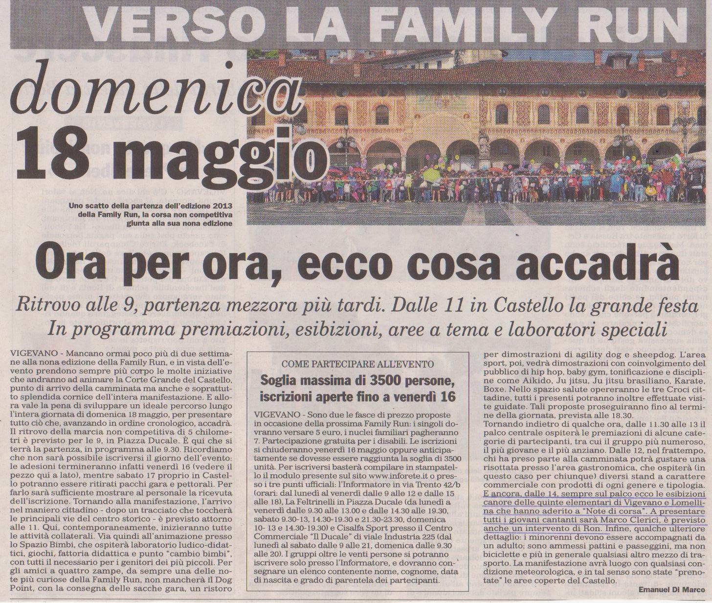 FAMILI RUN 2014 E NOTE DI CORSA