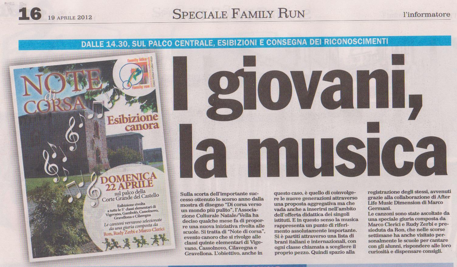 Family Run, i giovani e la musica