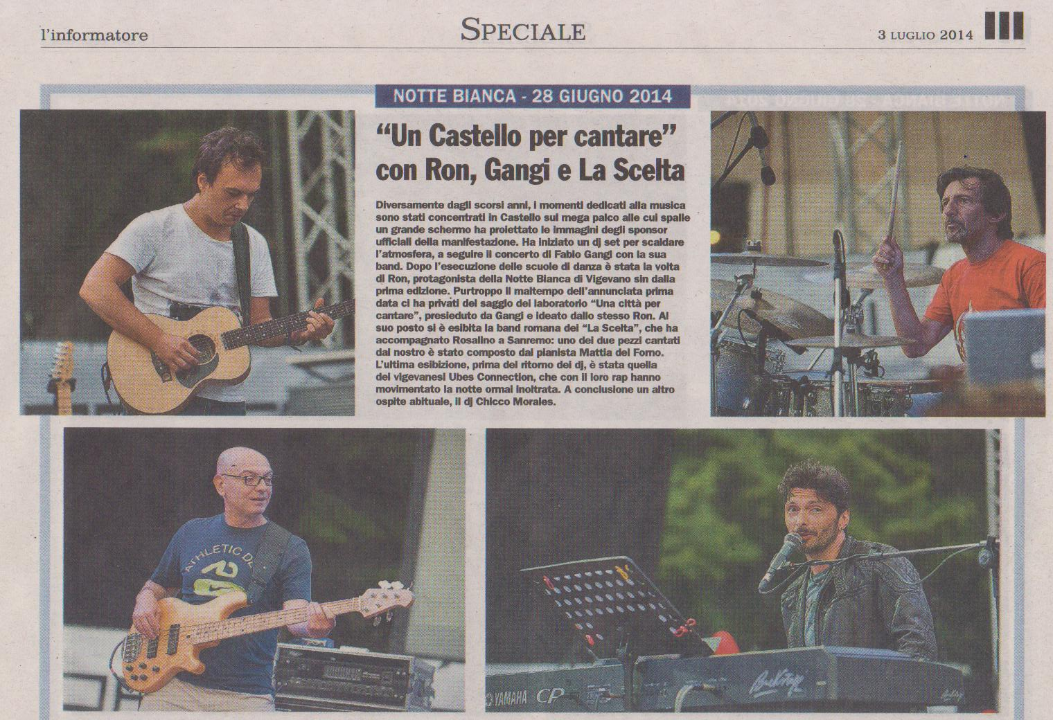 Fabio Gangi e la sua band alla Notte Bianca di Vigevano 2014