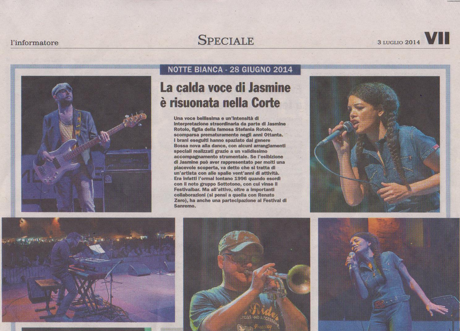 Jasmine Rotolo alla Notte Bianca di Vigevano 2014