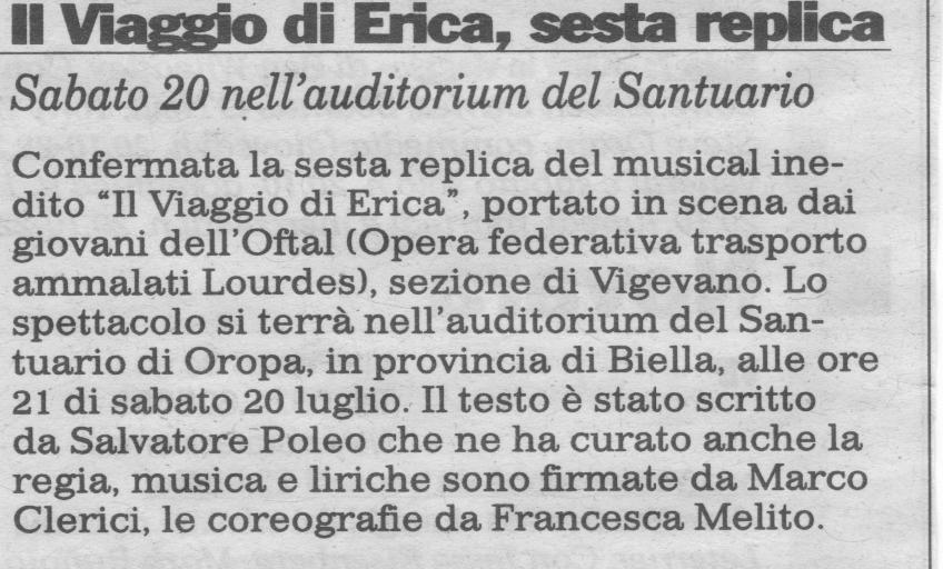 Il Viaggio di Erica (sesta replica ad Oropa)
