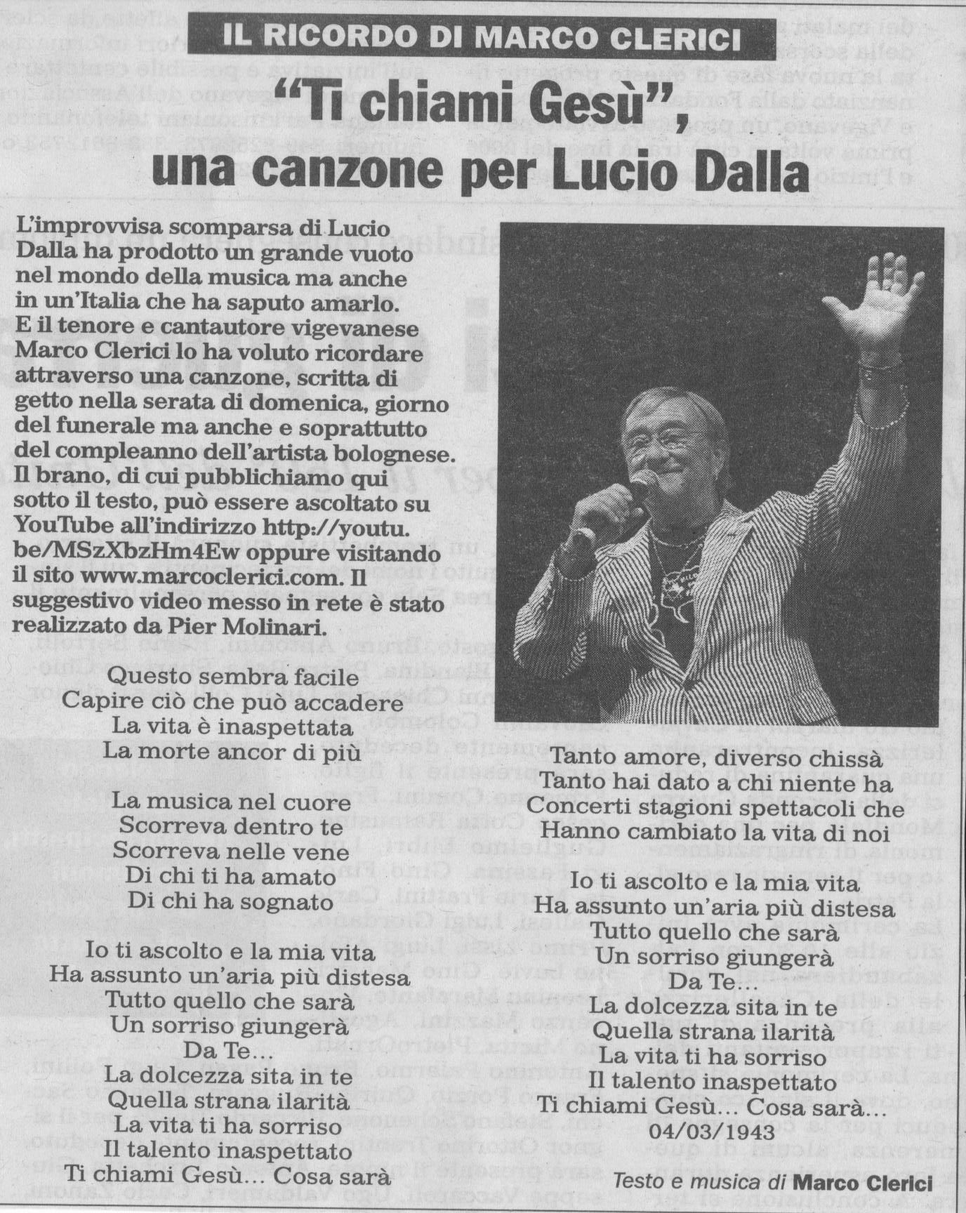 Canzone di Marco Clerici per Lucio Dalla