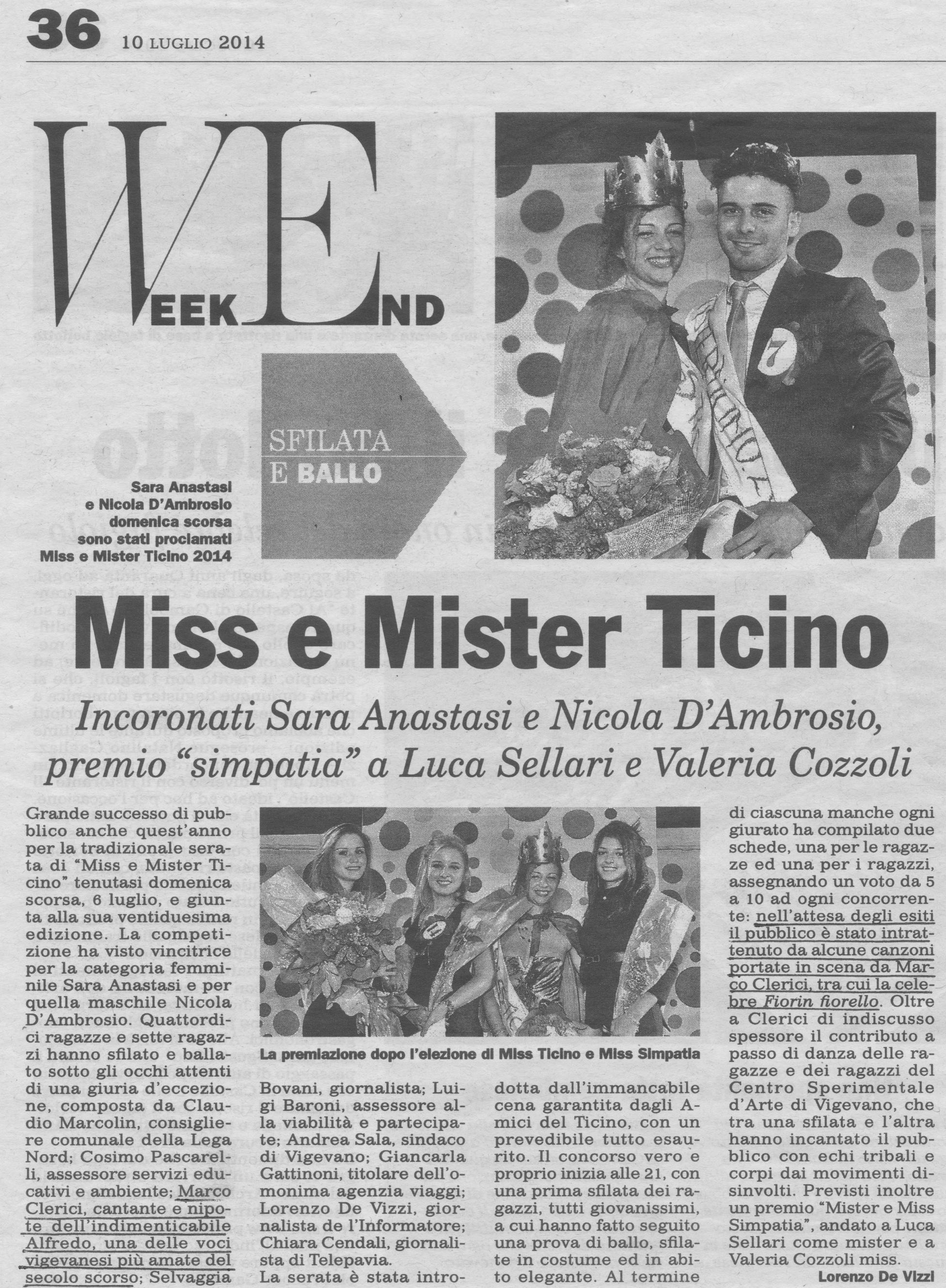 Marco Clerici in giuria per Miss e Mr Ticino 2014