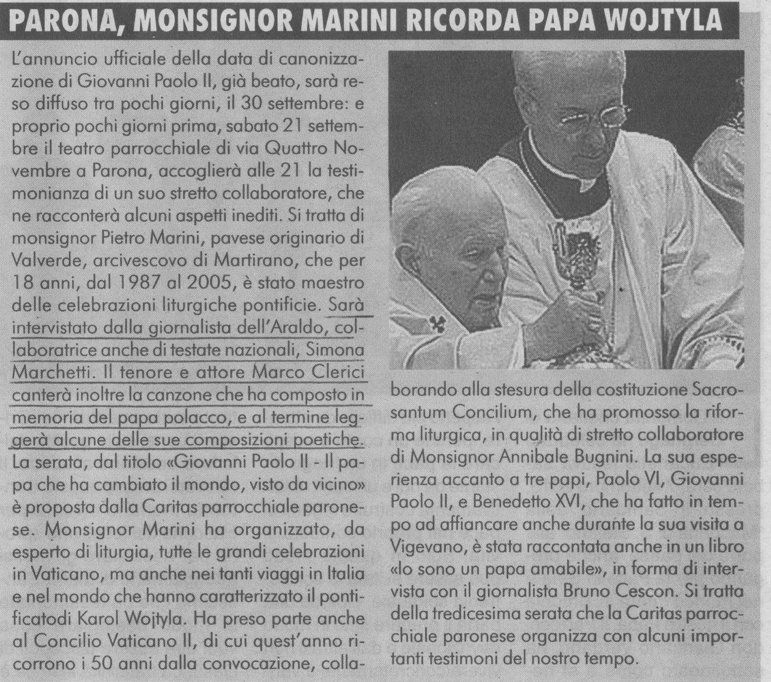 Mons. Marini (cerimoniere di Giovanni Paolo II) a Parona