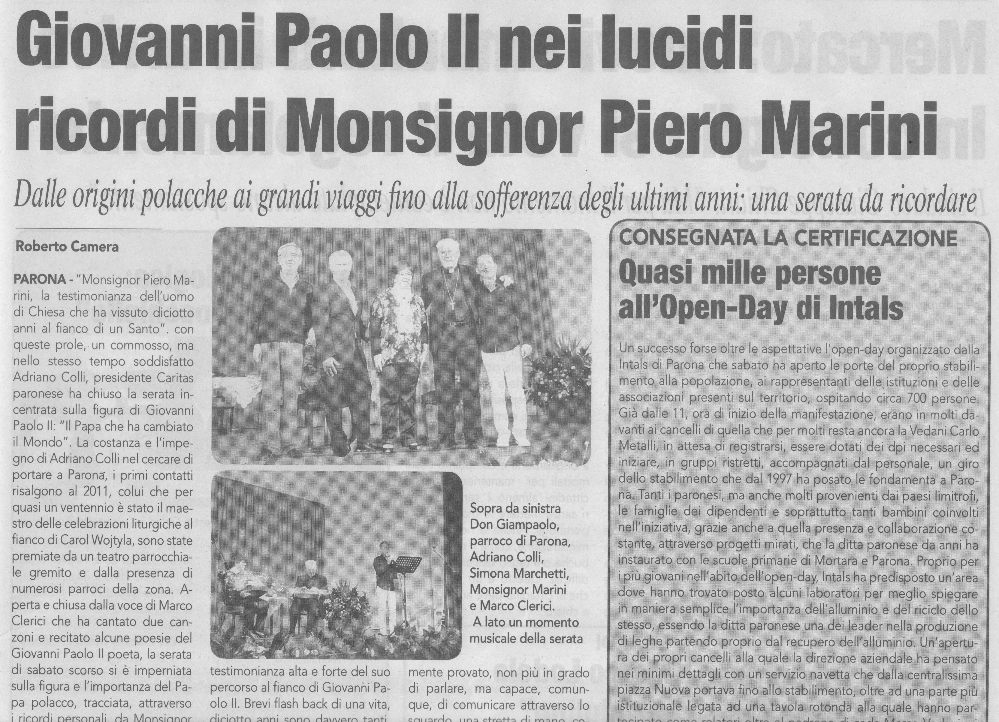 Marco Clerici insieme a Mons. Marini a Parona