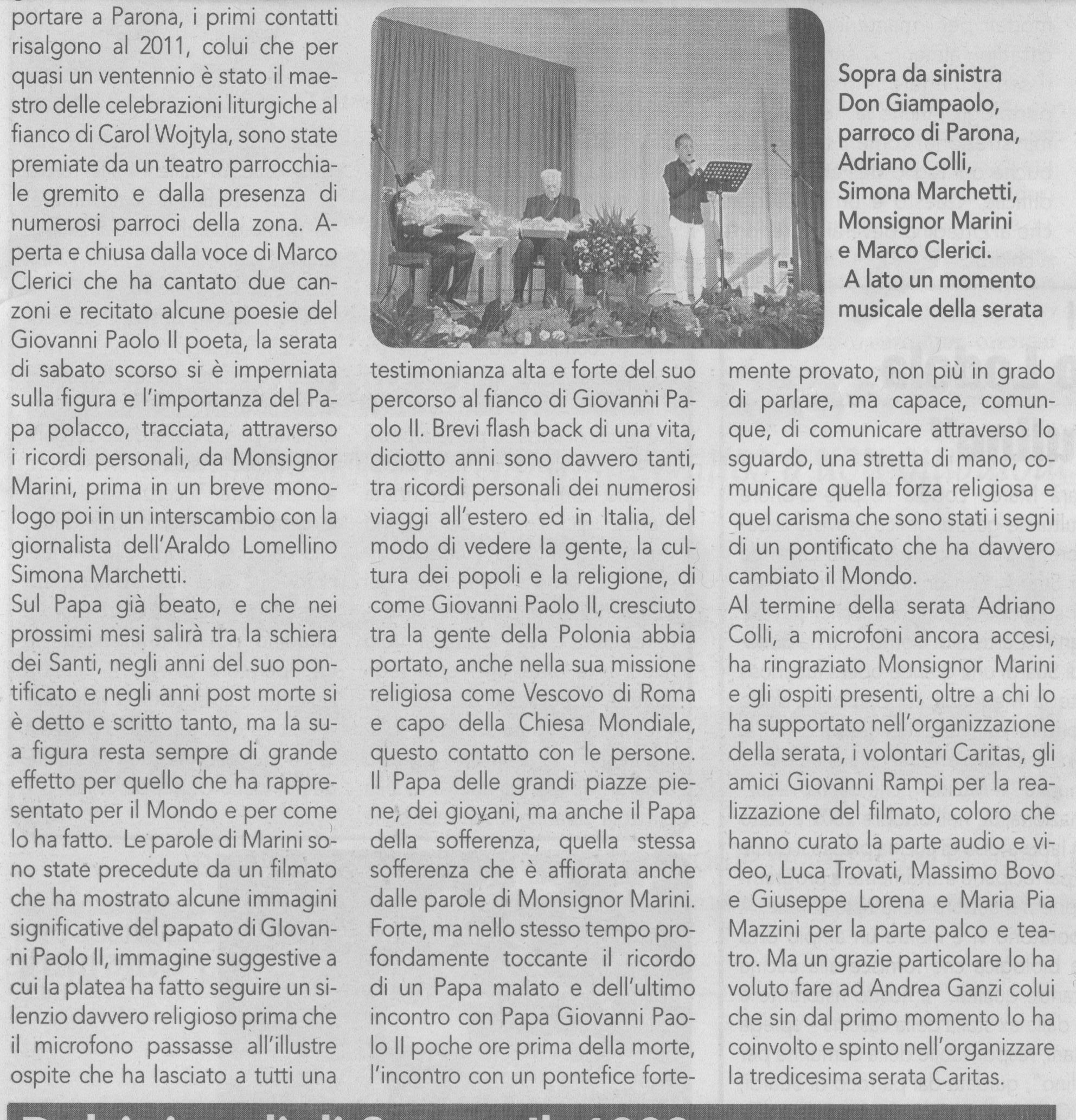 Mons. Marini a Parona settembre 2013 con Marco Clerici