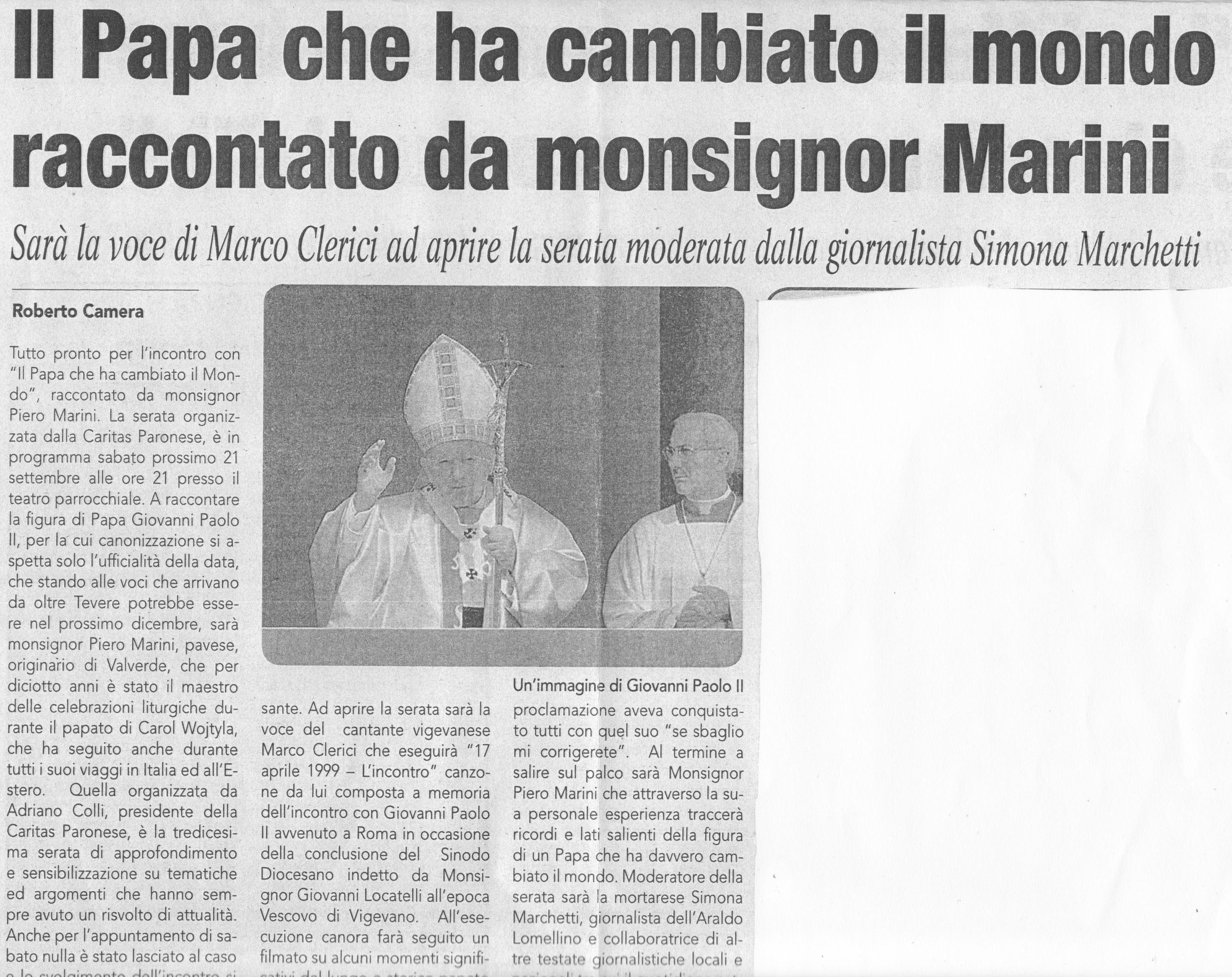 Mons. Marini a Parona settembre 2013