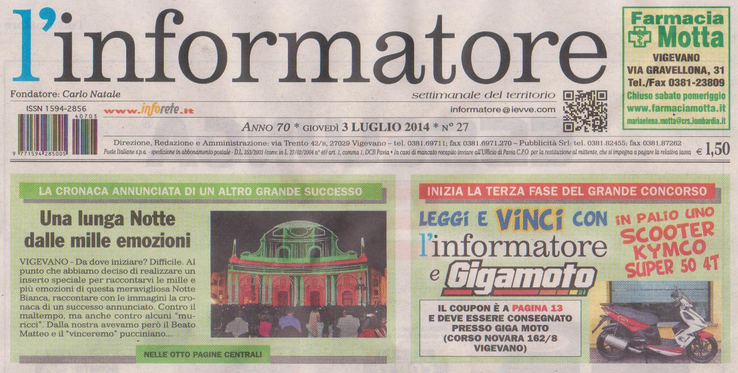 Notte Bianca di Vigevano 2014 - Grande Successo in Prima Pagina