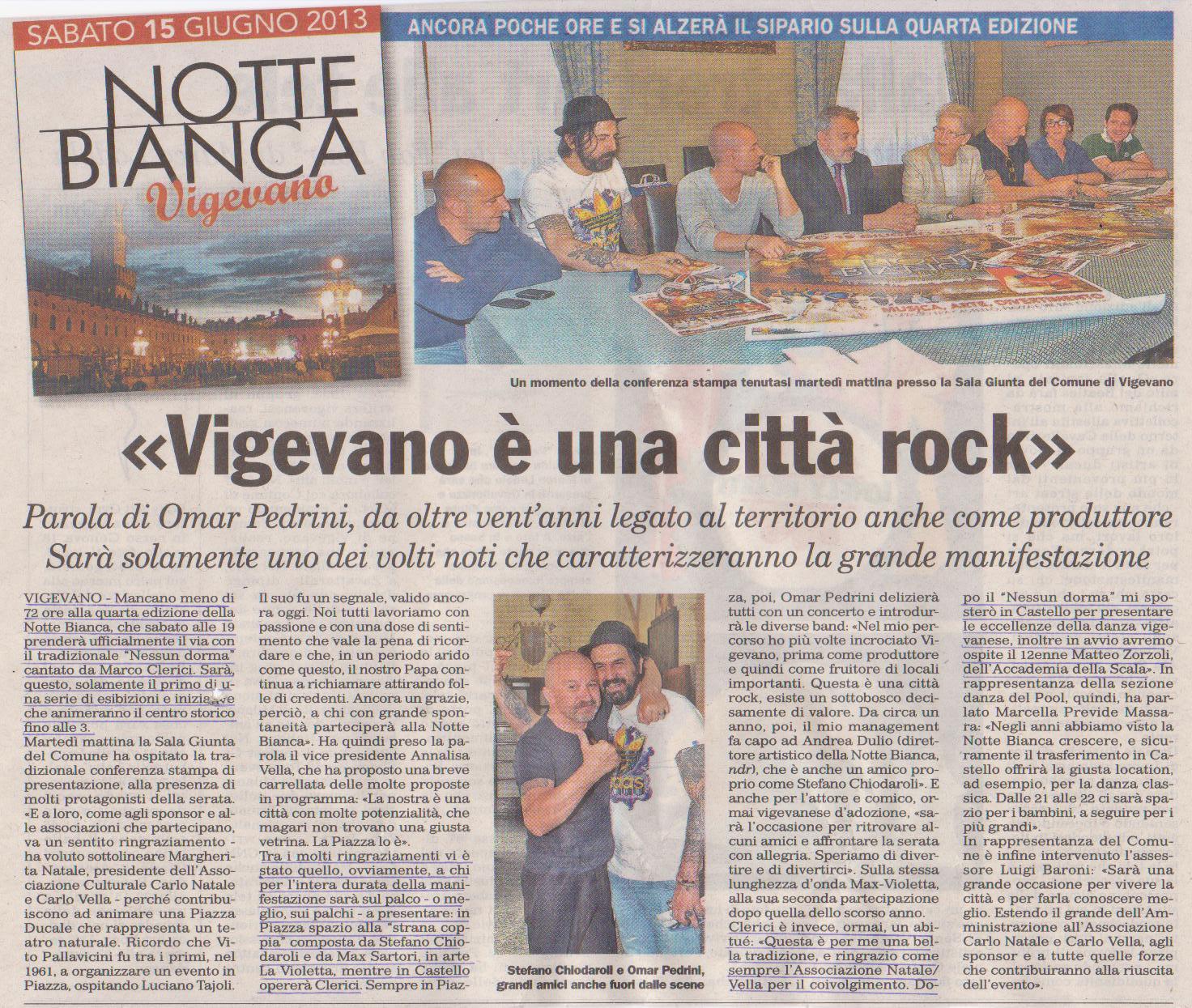 Notte Bianca 2013 Conferenza Stampa con Omar Pedrini, Stefano Chiodaroli e Marco Clerici