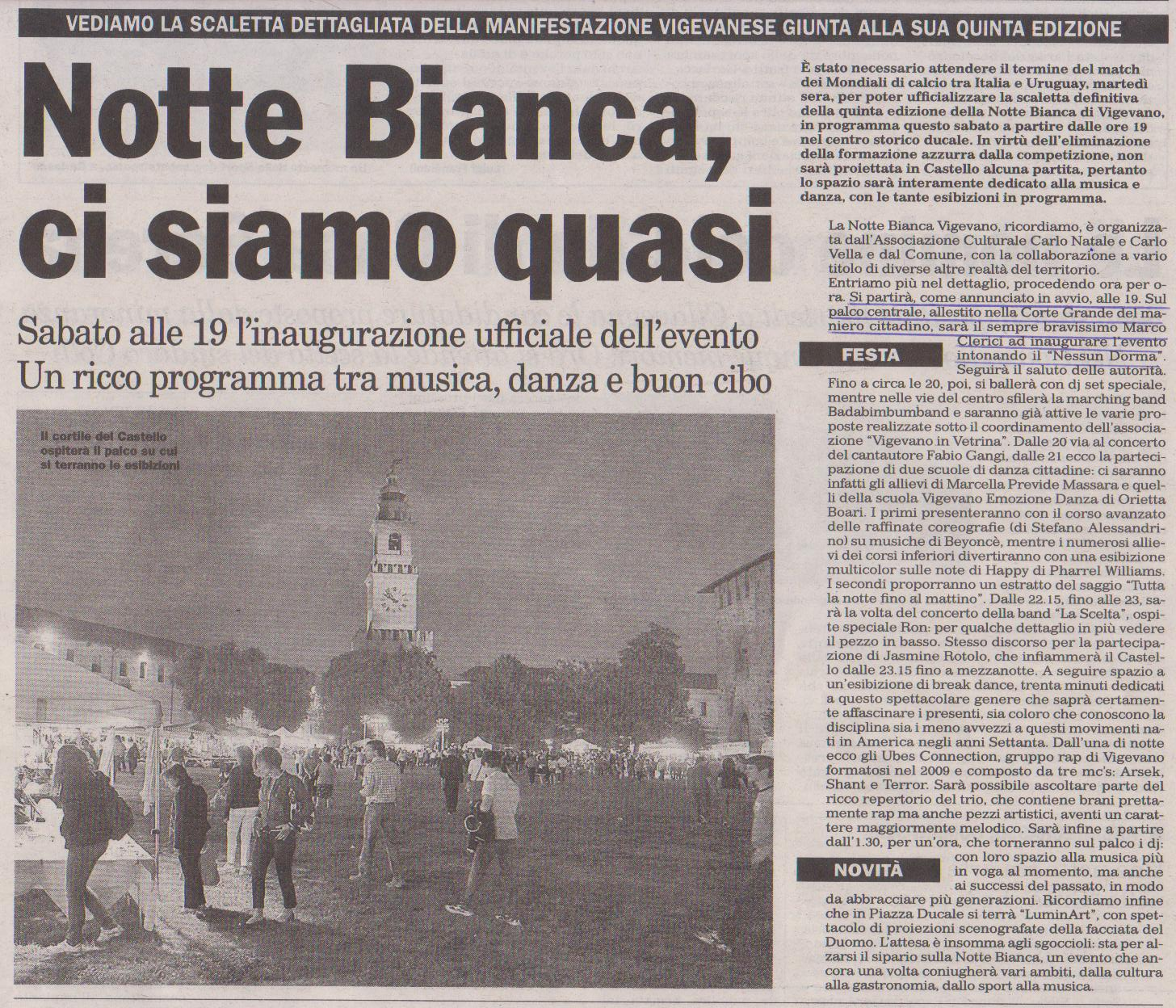 Scaletta Finale per la Notte Bianca 2014