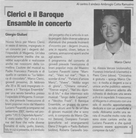 Marco Clerici si esibisce con il Baroque Ensemble