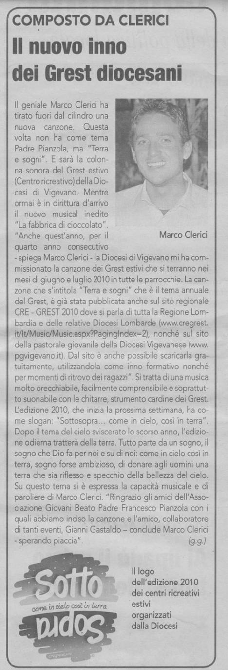 Marco Clerici compone canzoni per grest estivi