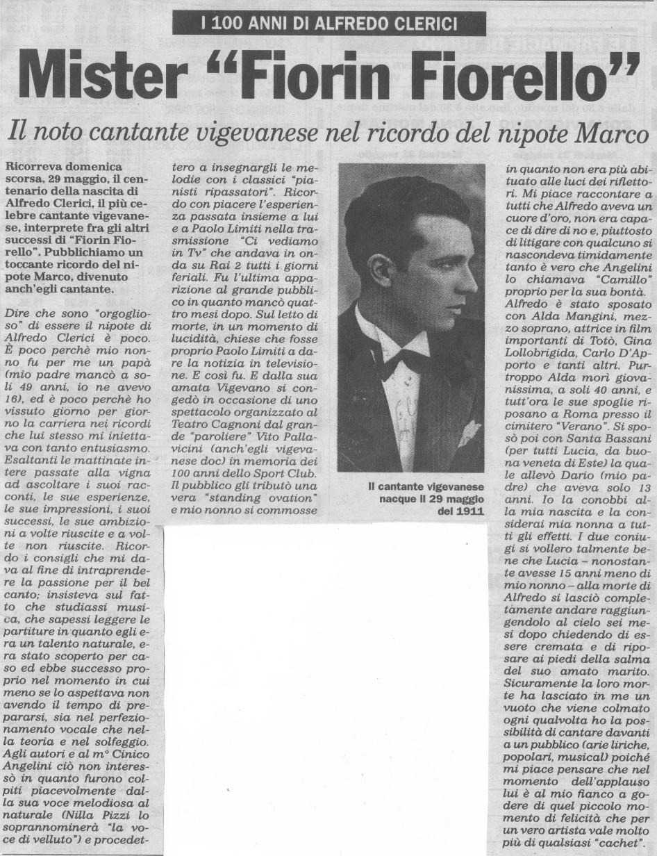Alfredo Clerici il ricordo di Marco Clerici