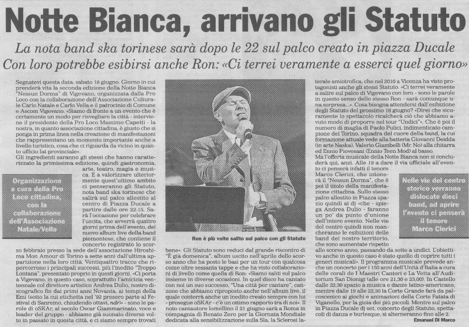 Marco Clerici alla Notte Bianca con RON e gli STATUTO