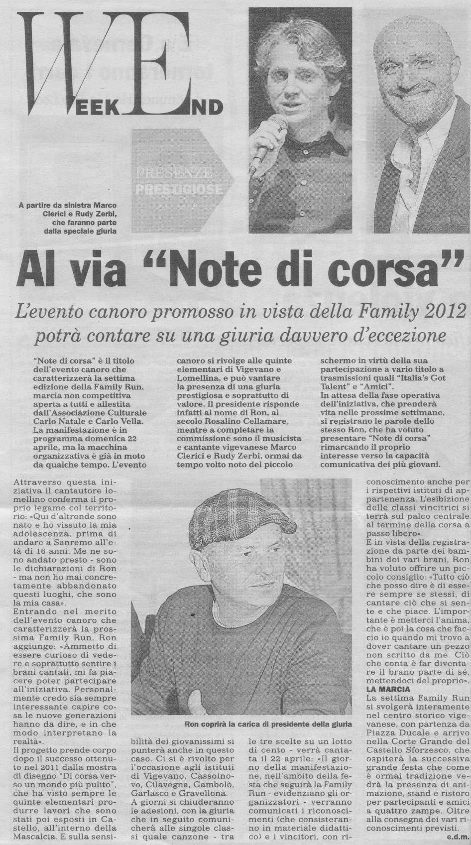 RON, Rudy Zerbi e Marco Clerici per Note di Corsa