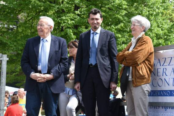 Gian Beppe Moreschi, il Sindaco Andrea Sala e Margherita Natale madrina della manifestazione
